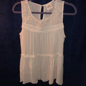 White Lace and Eyelet Detailed Sleeveless Top